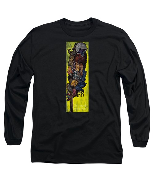 Green Crow Feather Long Sleeve T-Shirt