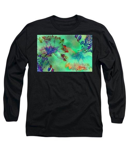 Green Hibiscus Mural Wall Long Sleeve T-Shirt by Claudia Ellis