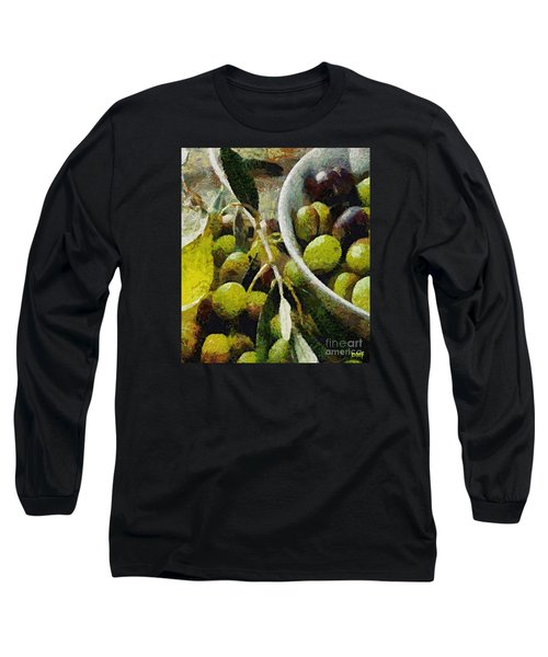 Green Olives Long Sleeve T-Shirt by Dragica  Micki Fortuna