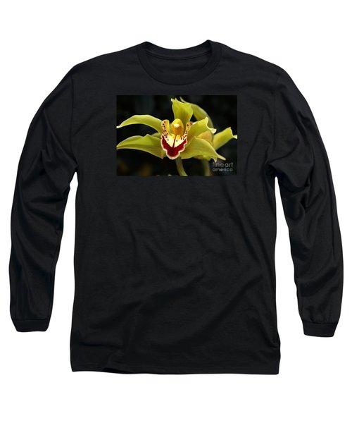 Green Orchid Flower Long Sleeve T-Shirt by Joy Watson