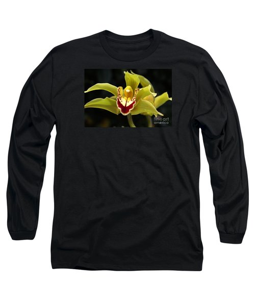 Green Orchid Flower Long Sleeve T-Shirt