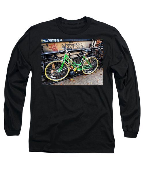 Green Schwinn Bike  Nyc Long Sleeve T-Shirt by Joan Reese