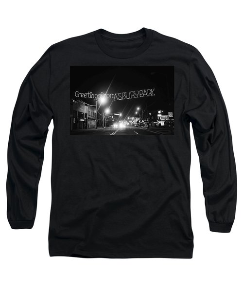 Greetings From Asbury Park New Jersey Black And White Long Sleeve T-Shirt