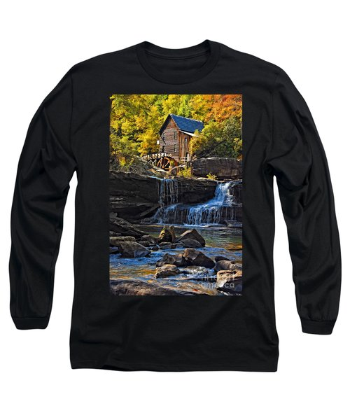Grist Mill In Babcock State Park West Virginia Long Sleeve T-Shirt