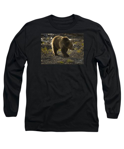 Grizzly Bear-signed-#4429 Long Sleeve T-Shirt by J L Woody Wooden