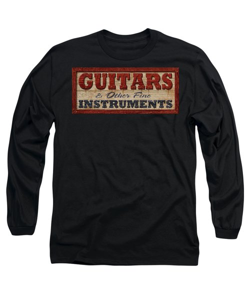 Long Sleeve T-Shirt featuring the digital art Guitar Sign by WB Johnston