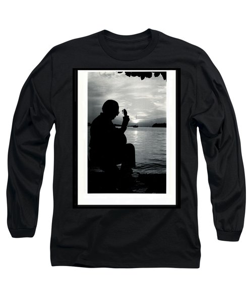 Guitarist By The Sea Long Sleeve T-Shirt by The Art of Alice Terrill