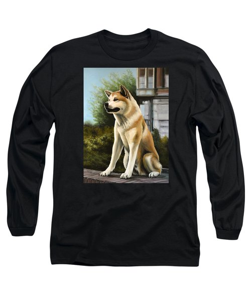 Hachi Painting Long Sleeve T-Shirt by Paul Meijering