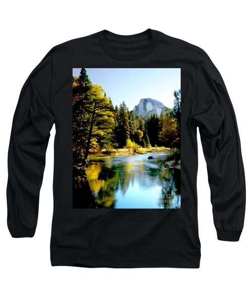 Half Dome Yosemite River Valley Long Sleeve T-Shirt by Bob and Nadine Johnston