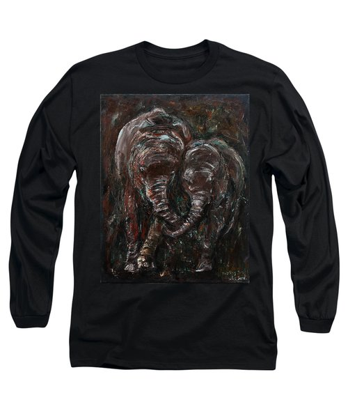 Long Sleeve T-Shirt featuring the painting Hand In Hand by Xueling Zou