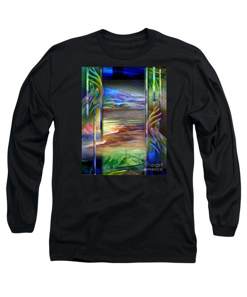 Long Sleeve T-Shirt featuring the painting Hands-prisoned by Allison Ashton