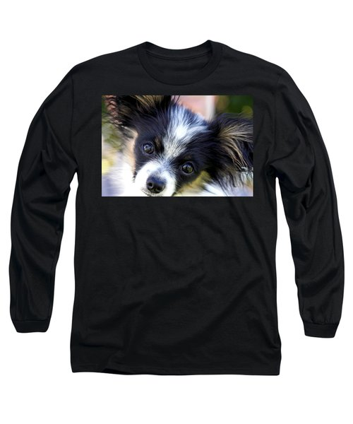 Long Sleeve T-Shirt featuring the photograph Hanna The Papillon Puppy by Karon Melillo DeVega