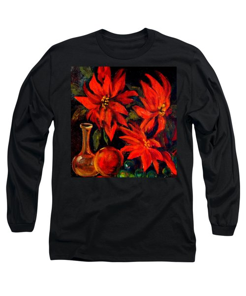 New Orleans Red Poinsettia Oil Painting Long Sleeve T-Shirt by Michael Hoard