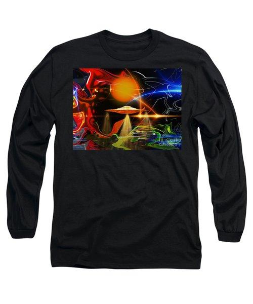 Long Sleeve T-Shirt featuring the digital art Happy Landing by Eleni Mac Synodinos
