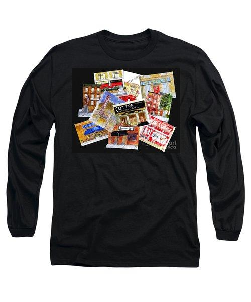 Harlem Jazz Clubs Long Sleeve T-Shirt by AFineLyne