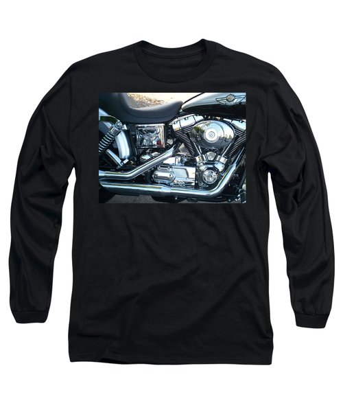 Harley Black And Silver Sideview Long Sleeve T-Shirt