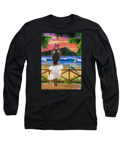 Hawaiian Sunset Hula Long Sleeve T-Shirt by Glenn Holbrook