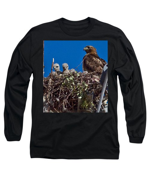 Long Sleeve T-Shirt featuring the photograph Hawk Babies by Brian Williamson