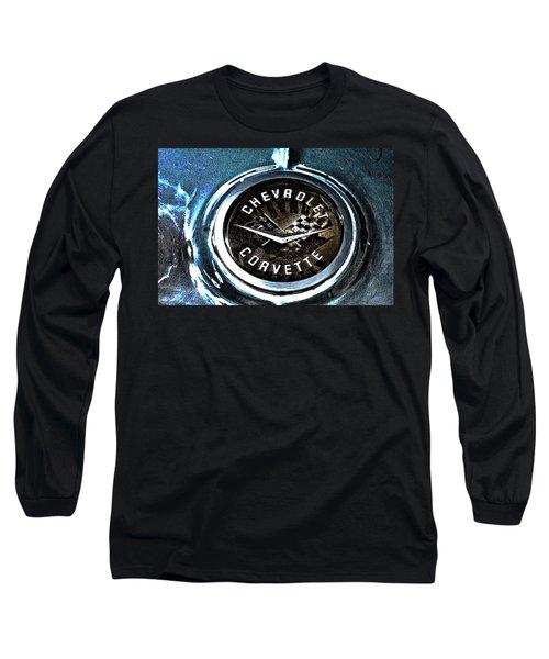 Long Sleeve T-Shirt featuring the photograph Hdr Vintage Corvette Emblem Art by Lesa Fine