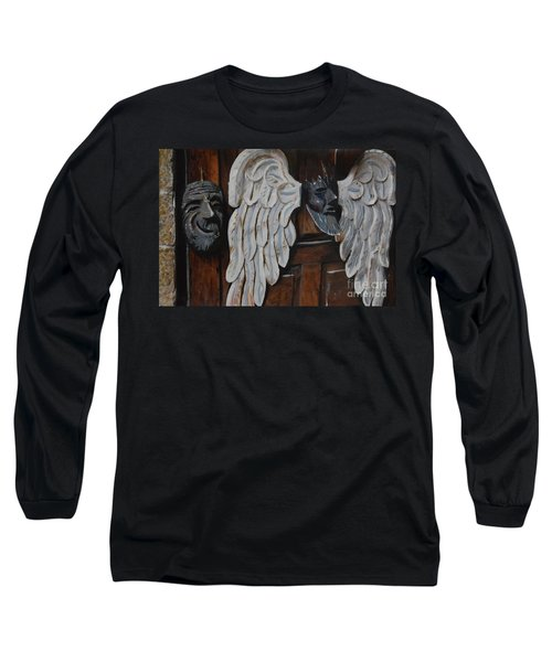 Long Sleeve T-Shirt featuring the mixed media He Gets Like That by Brian Boyle