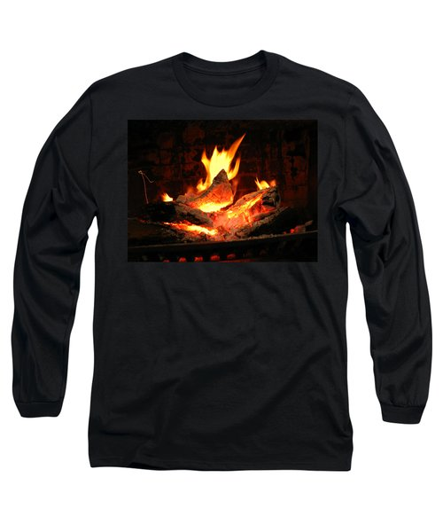Heart-shaped Ember In Roaring Fire Long Sleeve T-Shirt by Connie Fox