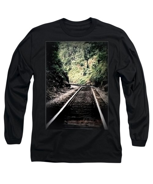 Hegia Burrow Railroad Tracks  Long Sleeve T-Shirt by Lesa Fine