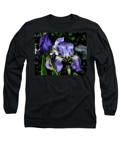 Heirloom Purple Iris Blooms Long Sleeve T-Shirt
