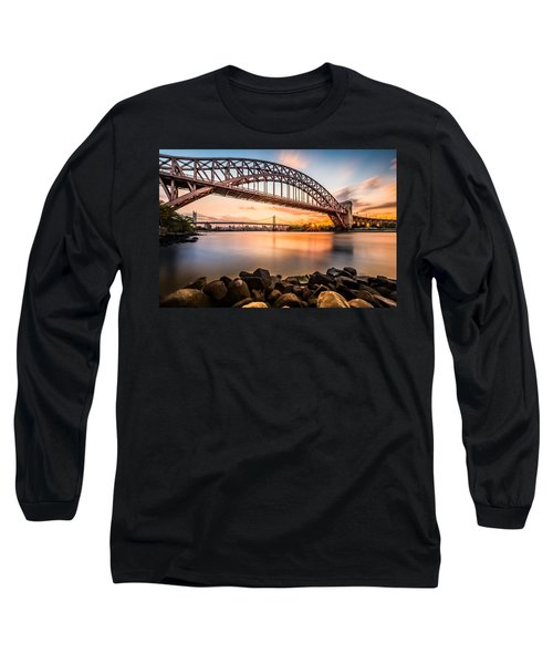 Hell Gate And Triboro Bridge At Sunset Long Sleeve T-Shirt