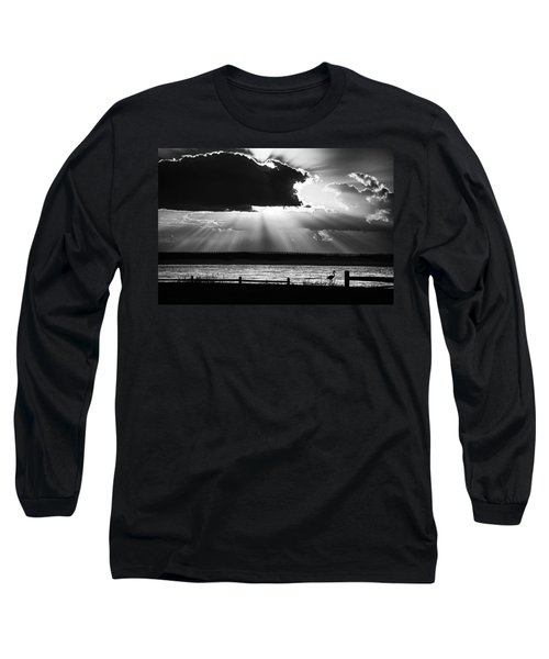 Long Sleeve T-Shirt featuring the photograph Heron And  The Cloudburst by Michael Thomas