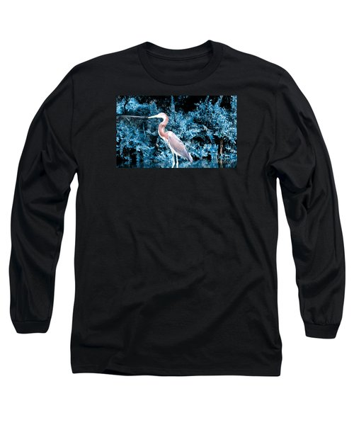 Heron In Blue Long Sleeve T-Shirt