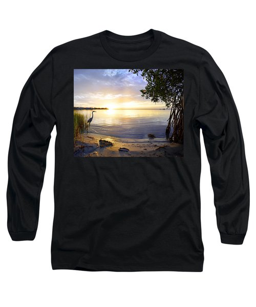 Heron Sunrise Long Sleeve T-Shirt by Francesa Miller