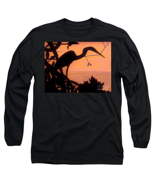 Long Sleeve T-Shirt featuring the drawing Heron Sunset by D Hackett
