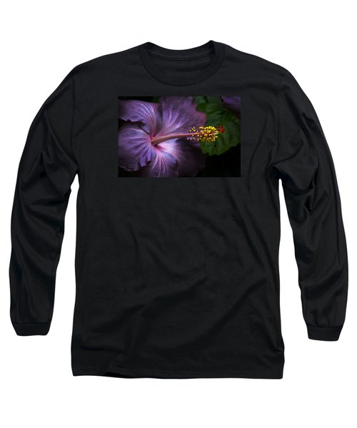 Long Sleeve T-Shirt featuring the photograph Hibiscus Bloom In Lavender by Julie Palencia