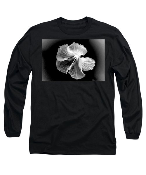 Hibiscus In Black And White Long Sleeve T-Shirt
