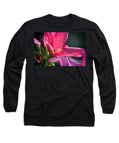 Long Sleeve T-Shirt featuring the photograph Hibiscus Morning Bright by Nava Thompson