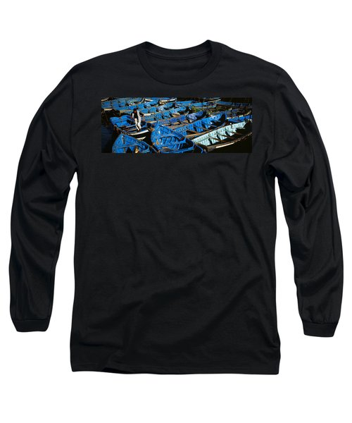 High Angle View Of Boats Docked Long Sleeve T-Shirt