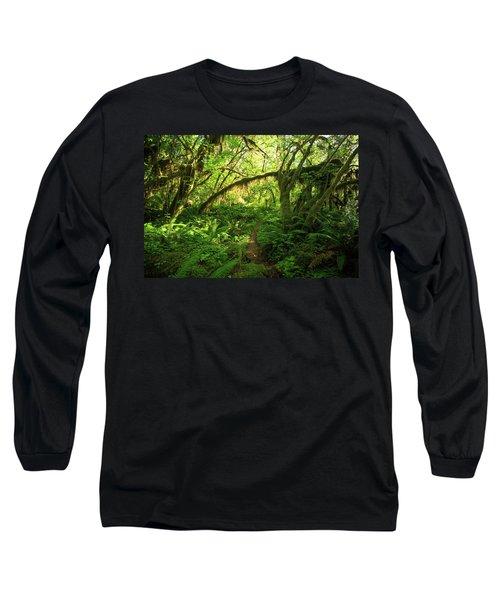 Hiking Trail Leading Through Dense Hoh Long Sleeve T-Shirt