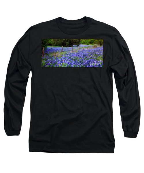 Hill Country Heaven - Texas Bluebonnets Wildflowers Landscape Fence Flowers Long Sleeve T-Shirt by Jon Holiday
