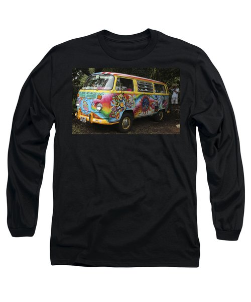 Vintage 1960's Vw Hippie Bus Long Sleeve T-Shirt by Venetia Featherstone-Witty