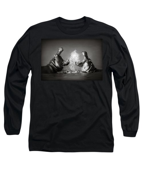 Hippo's Fighting Long Sleeve T-Shirt by Johan Swanepoel