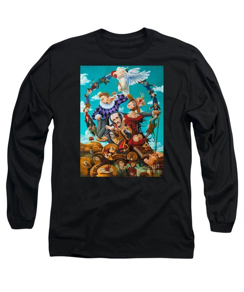Long Sleeve T-Shirt featuring the painting His Majesty Edgar Allan Poe by Igor Postash