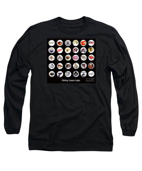 Hockey League Logos Bottle Caps Long Sleeve T-Shirt by Barbara Griffin