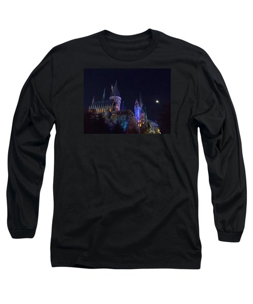 Hogwarts Castle At Night Long Sleeve T-Shirt by Kathy Long