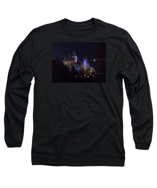 Hogwarts Castle In Lights Long Sleeve T-Shirt by Kathy Long