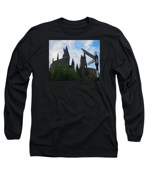 Hogwarts Castle With Signs Long Sleeve T-Shirt by Kathy Long