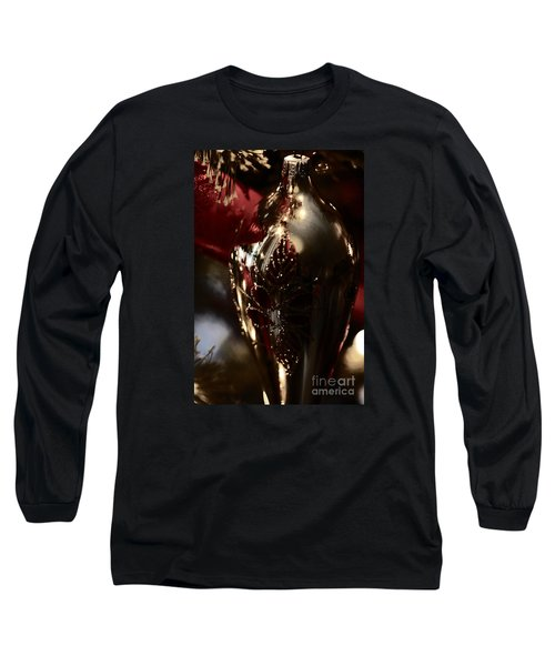 Holiday Sparkle In Red Long Sleeve T-Shirt by Linda Shafer