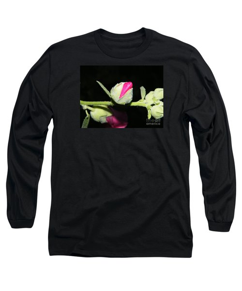 Long Sleeve T-Shirt featuring the photograph Hollyhock Buds by Ann E Robson