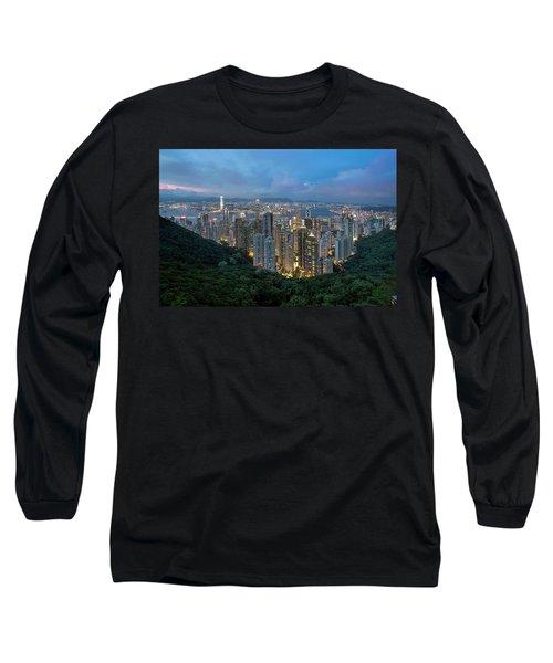 Hong Kong From Sky Terrace 428 At Victoria Peak Long Sleeve T-Shirt