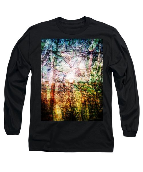 Long Sleeve T-Shirt featuring the mixed media Hoosier Country Opus 1 by Sandy MacGowan
