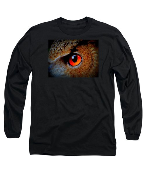 Long Sleeve T-Shirt featuring the painting Horned Owl Eye by David Mckinney